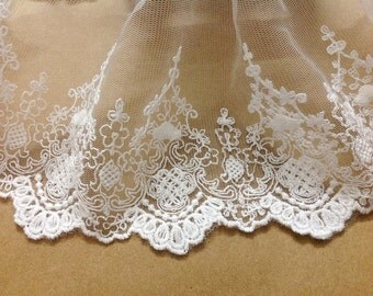 Cream White Lace Trim Embroidered Tulle Lace Trim 7 Inches Wide 2 yards K052