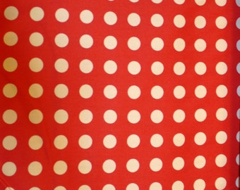 SALE 30% OFF Red with Cream Polka Dots Cotton Canvas from Moda Fabrics