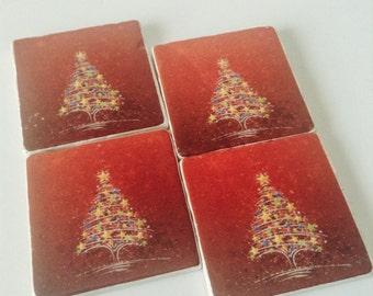 Xmas Trees Coaster Set of 4 - Holiday Coasters - Home Decor - Great Holiday Gift