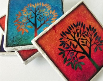 Tree Coasters -  Enchanted Trees - Natural Stone - Home Decor - Garden Coasters - Set of 4