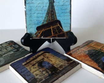Paris Coasters - Paris Postcards - Travel Coasters - France - Natural Stone  - Any Occasion Gift - Set of 4