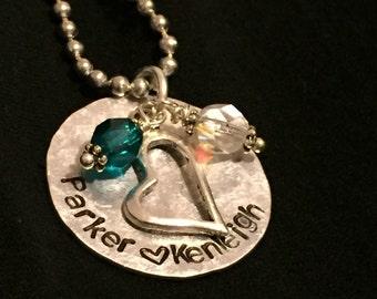 Mother's Keepsake Name Custom Hand Stamped Necklace