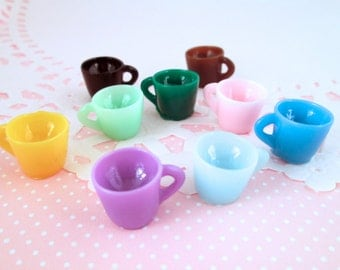 6 coffee cup cabochons, miniature teacups for dollhouses and crafts, #190b