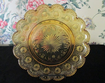 Vintage American Concord Amber Pressed Glass Scalloped Plate by Brockway Glass Co.