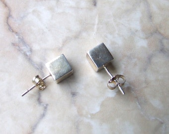 Free shipping Vintage square studs, sterling silver stud earrings, square stud earrings, free shipping