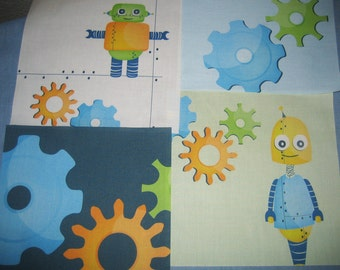 "Boys ROBOTS Space and GEARS - Your Choice of  6.5"" Kids Fabric Quilt Block"