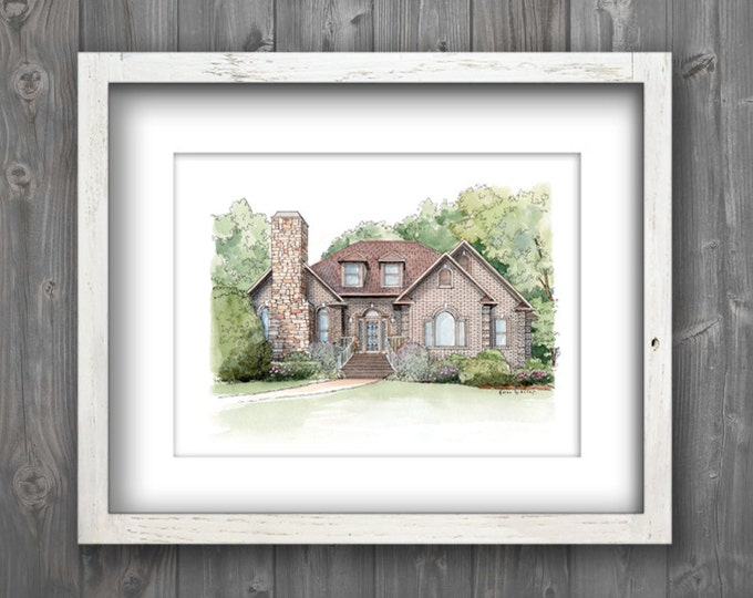 "Custom sketch House drawing from your photo 8"" x 10"" pen and ink watercolor custom house"