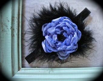 """BABY PHOTO PROP Headband/Purple Chiffon/Black Feathers/13"""""""