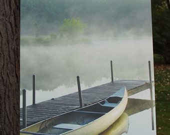Canoe in the Mist Canvas Gallery Wrap