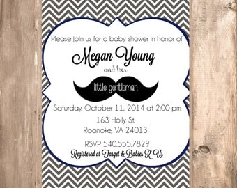 Little Gentleman Black Chevron Mustache Baby Shower Invitation Boy Baby Shower