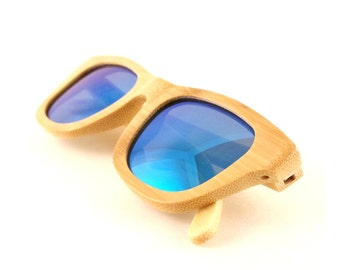 Bamboo Wood Sunglasses Polarized Lenses - Flourish Blue | Handmade Wayfarer Wood Sunglasses from Thrive Shades