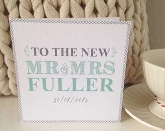 Personalised Mr & Mrs Wedding card