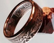 Delicately Detailed Bronze Korean 1 Chon Coin Ring