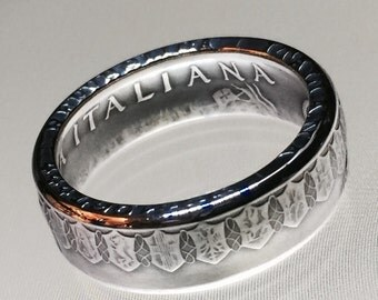 Silver Italian 500 Lire Coin Ring