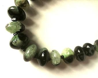 Necklace 72.  Unusual combination of Black Agate and Green Quartz.