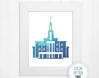 Payson LDS Temple Watercolor Print - LDS Temples - LDS Religious Wall Art and Home Decor - 5x7, 8x8, 8x10, 11x14