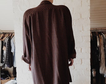 Vintage Brown and Black Oversized Lightweight Checkered Coat