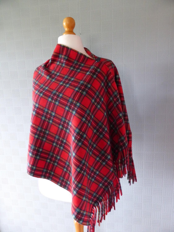 plaid tartan poncho shawl blanket scarf in by