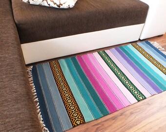 Handwoven rug, handwoven wool rug, handwoven kilim rug, handwoven rug runner, home decor striped handwoven rug