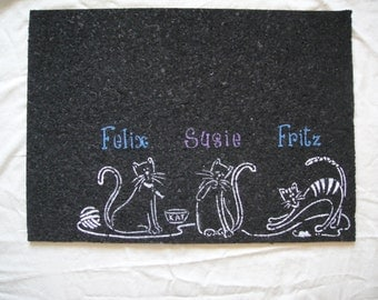 Personalized Recycled Rubber Cat Mat