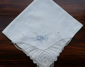 Delicate Vintage Wedding Handkerchief Embroidered with Blue Flowers