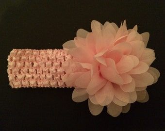 Pink headband with chiffon flower