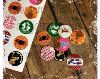"""15 1"""" First Holiday Precut Bottle Cap Images"""