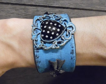 Black Turquoise Fancy Polka-Dot Heart Pendant Bows Up-Cycled Leather Cuff Bracelet