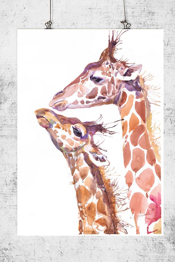 Two Giraffes Watercolor Wall Decor Animal Art By Valrart