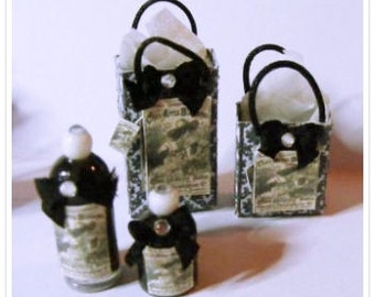 Miniature toiletry bottles with matching bags