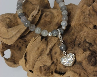 Labradorite bracelet with silver heart, collection Kokoro