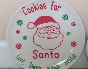 Cookies for Santa Christmas Cookie Plate, Personalized Christmas Cookie Plate