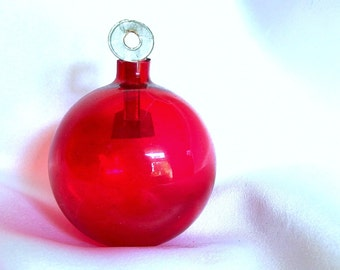 Vintage Clear Red Christmas Ornament with Round Paper Hanger