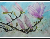 Original Watercolor painting, Large size Home Decor, Magnolia Flower, 30x22 inch. flower Blue, pink.