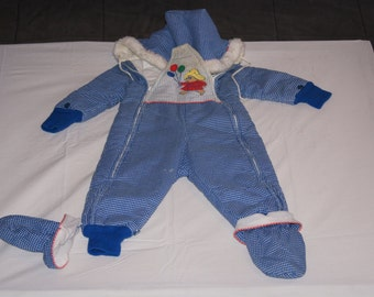 Vintage 1980 S Lands End Baby Snowsuit With Penguin And