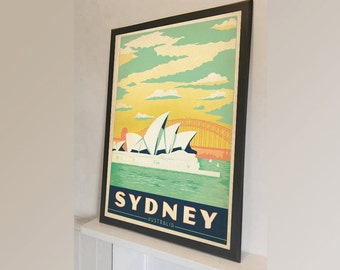 Sydney Australia Travel - Vintage Reproduction Wall Art Decro Decor Poster Print Any size