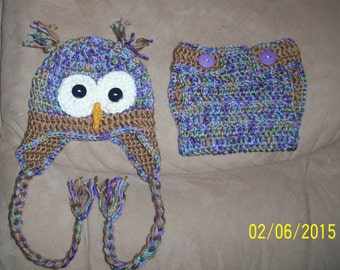 "Owl Hat and Diaper Cover ""Hoots""- ready to ship hat and diaper cover set"