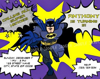 Batman Invitation - Printable Batman Invitation - Digital Invite - Birthday Party - Super Hero Superhero