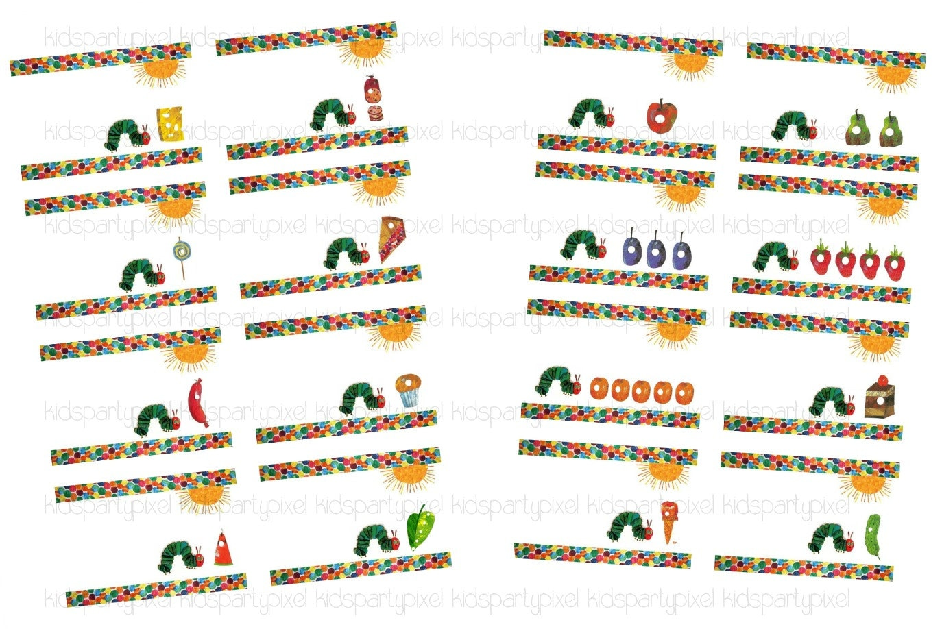 Blank Very Hungry Caterpillar Food Label Tag By Kidspartypixel
