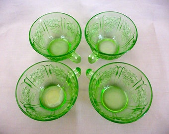 Green Glass Mugs with Rose Design