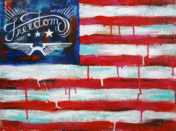 """Original Collaged Acrylic Painting with Hand Lettering on Canvas, American Flag, Red, White and Blue, Patriotic, """"Freedom Flag"""""""