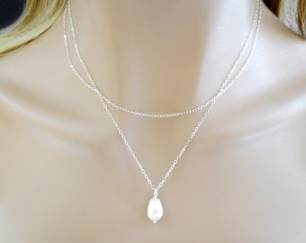 Double layered, White, Pear, Pearl, Gold filled, Sterling silver, Necklace, Birthday, Best friends, Mom, Sister, Gift, Jewelry