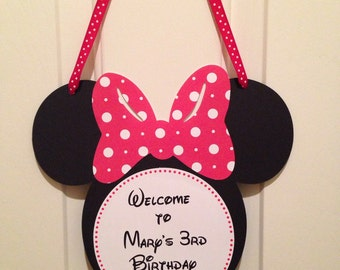 Minnie Mouse Door Sign, Mickey Mouse Door Sign, Minnie Decor,Minnie Mouse Party, Minnie Mouse Birthday, Red and white polkadots Minnie