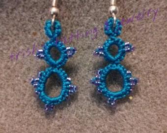 Needle Tatted Earrings Blue Dangle