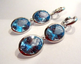 14K &18K Blue Topaz Earrings