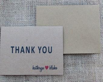 Wedding Kraft Personalized Thank You Card Set of 25 - Kraft Thank You Cards - Bridal Shower Thank You Cards