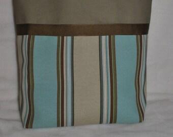 Striped bottom/Khaki Top Tote Bag