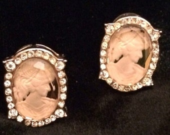 Vintage Rose Colored Glass Cameo Earrings, Pierced