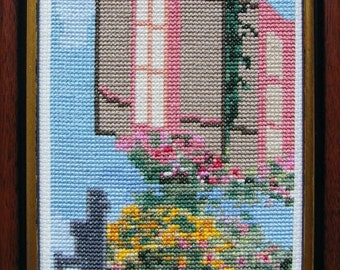 French Shutters (Les Volets) Chart for counted cross stitch with a French theme.  Design is stitched on 14 count Aida with stranded cottons.