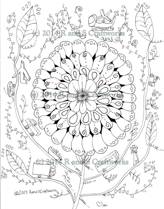 coloring page  flower power